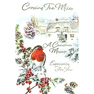 Across The Miles Christmas Card - Traditional Gold Text & Big Robin 7.5