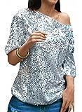 JQLampe Sommer Bluse Damen Fashion Schräge Schulter Halbe Hülse Blouse Oberteile Einfarbig Pailletten Tops
