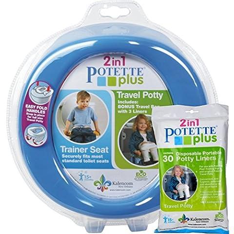 Kalencom azul Potette Plus puerto un orinal formación orinal viaje para inodoro asiento 2en 1Bundle con Potette Plus