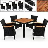 Deuba Poly Rattan Sitzgruppe 4+1 Schwarz | 7cm dicke Sitzauflagen | 4 stapelbare Stühle | Tisch + Armlehnen aus Akazienholz | wetterbeständiges Polyrattan [ Modellauswahl 4+1 / 6+1 / 8+1 ] - Gartenmöbel Gartenset Sitzgarnitur Set
