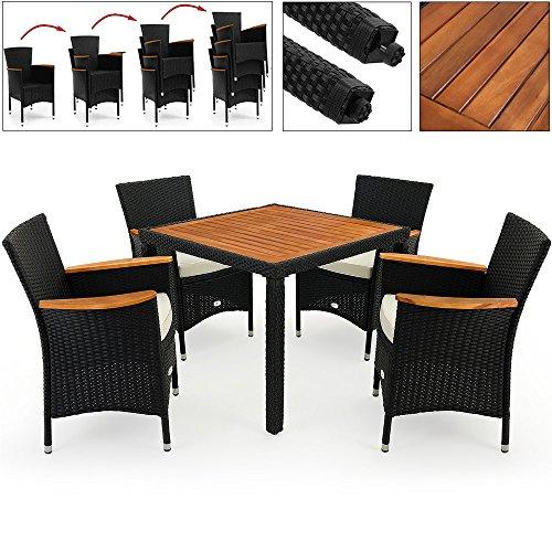 Deuba Poly Rattan Sitzgruppe mit Armlehnen und Tischplatte aus Akazie 4+1/6+1/8+1