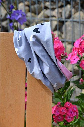 Loop aus Bio-Baumwolle, Schal Tuch für Babys und Kinder, 98 104, gefüttert, rosa grau weiß schwarz, Herzen, Jersey, Mädchen