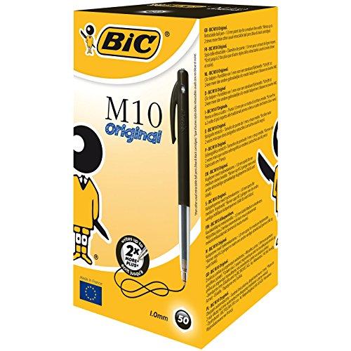 BIC - Penna a sfera a scatto'M10 clic', ampiezza tratto: 0,4 mm, confezione da 50 pezzi, colore: Nero