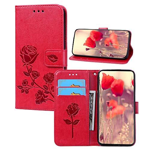 BestCatgift Redmi 5 Plus PU Leather Wallet Funda [Embossed Rose Flower] TPU Inner Bumper Folio Cover para Xiaomi Redmi 5 Plus - Red