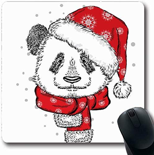 Luancrop Mousepad Längliche lustige Aquarell Claus Panda Weihnachten Hut Schal Urlaub Santa Vintage Boy Design Spielzeug Büro Computer Laptop Notebook Mauspad, rutschfeste Gummi (Santa Schal)