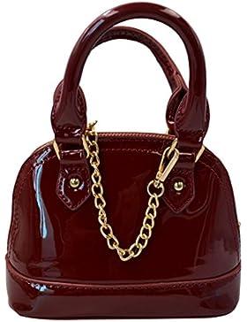 AiSi Damen mini Lack Leder Handtasche/ Damenhandtasche/ Schultertasche/ Crossbody Bag/ Umhängetaschen/ Henkeltasche...