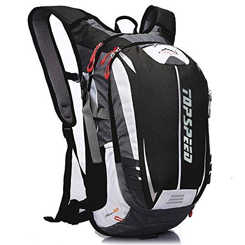 West Biking Rucksack zum Radfahren, Joggen, Wandern, strapazierfähig und leicht, wasserbeständig mit vielen Taschen, Rückenmassagesystem und einzigartigem Helmnetz Black