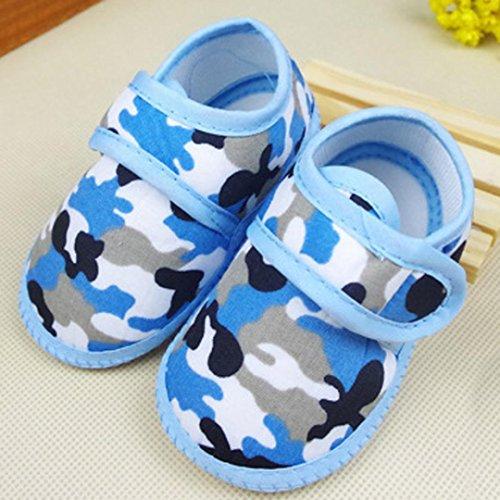 BZLine® Neugeborenen Camouflage Mädchen junge weiche Sohle Krippe Schuhe Canvas Sneaker Blau