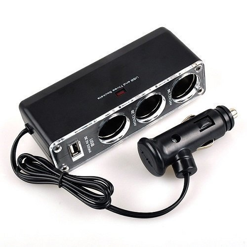 Preisvergleich Produktbild USB KFZ PKW LKW Auto Ladegerät Kabel Adapter 3 x Zigarettenanzünder 12V/24V/5V
