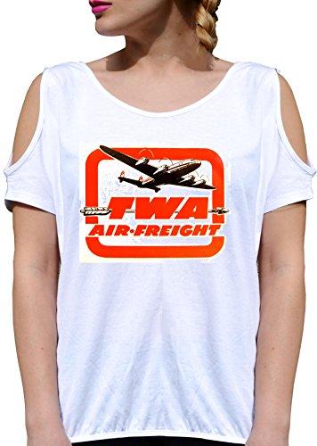 T SHIRT JODE GIRL GGG27 Z2930 TWA AIR FREIGHT AMERICA ARMY PLANE VINTAGE FUN FASHION COOL BIANCA - WHITE L (Air Army Vintage)