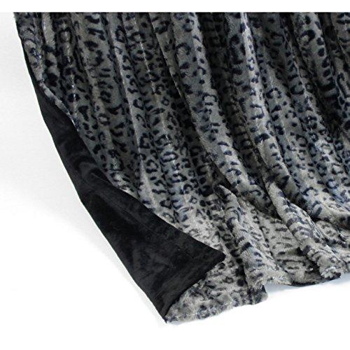 Luxus Kuscheldecke Wohndecke aus hochwertigem Material, Leopard grau/schwarz, ca. 150 cm x 200cm