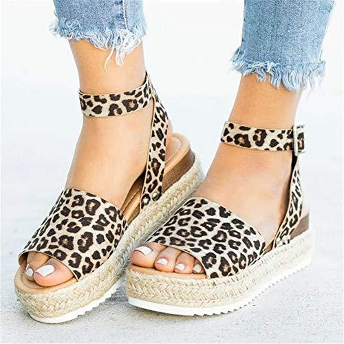 LQUIDE High Heels Sandalen für Frauen Größe 5 Größe 9 Größe 11 Schuhe für Frauen Sommer Schuhe 2019 Flip Flop Chaussures Femme Plateau Sandalen 2019 Plus Size,Leopard,7.5