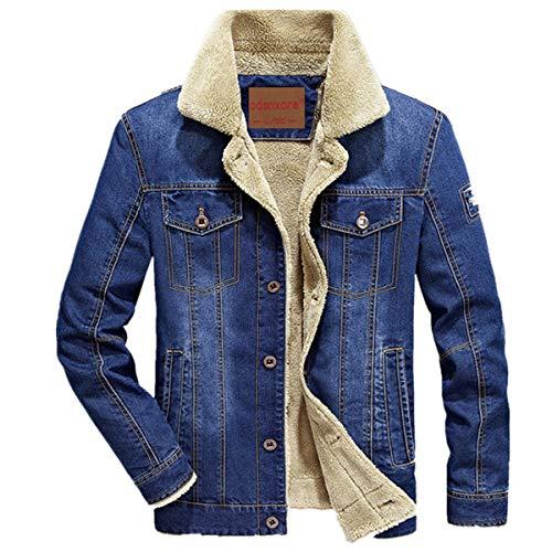 Herren Denim Jeansjacke mit Fell Jacke Mantel winterjacke Wintermantel für Winter (XL, Light Blue) - Blue Denim Tennis Shoe