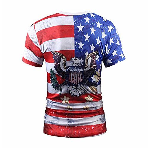 Yonbii Herren Mann Designs T-Shirt 3D-Druck Bogen beiläufige Hemd Bluse Kurzarm Beige