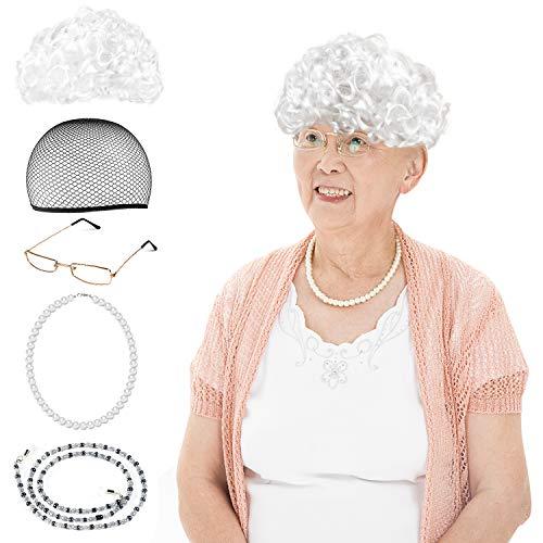 Beelittle Old Lady Kostüm Großmutter Cosplay Zubehör Set - Oma Perücke Perücke Kappe Brille Brillen Ketten Armband Perlenkette - 5 Stück (Kleinkind Kostüm Alte Frau)