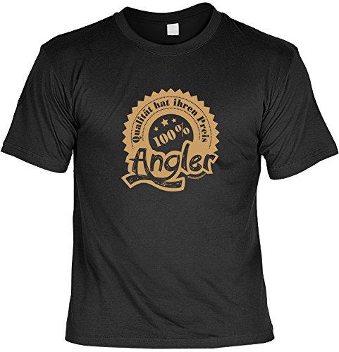 FunT-Shirt für Angler 100% Angler Angler Shirt Geschenk für Angler angeln Anglershirt Laiberl Schwarz