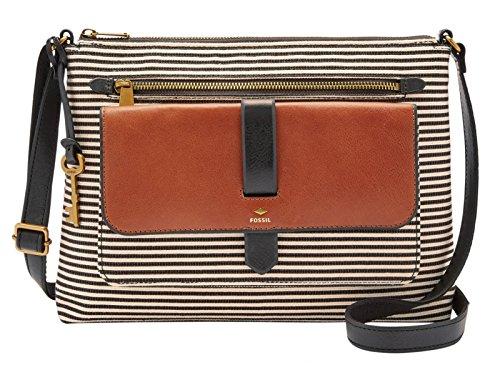 Leder Messenger Bag Fossil (Fossil Damen Hand Tasche Kinley Crossbody Schultertasche Modische Umhänge Taschen ZB7227-080 Schwarz)