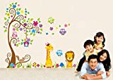Wall Decal jungle forest lion and giraffe , squirrel owl on colorful tree wall stickers for nursery nursery bedroom