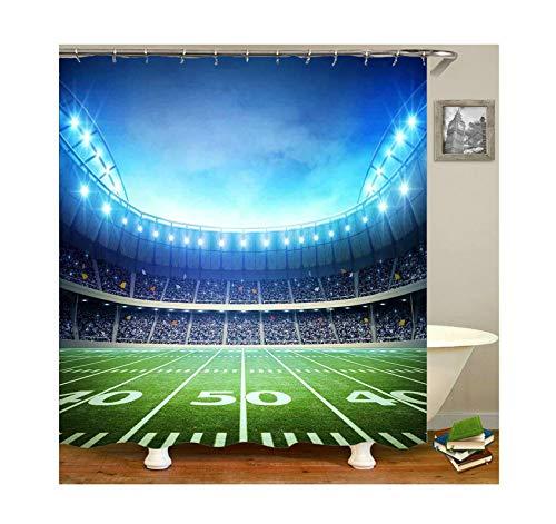 Aeici Duschvorhang Fußballfeld Badvorhang Ohne Bohren Polyester Bad Vorhang Bunt 150X180Cm