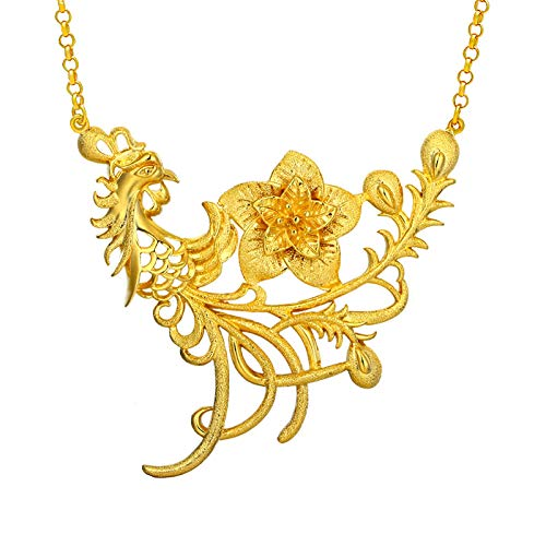 DRSMDR Goldschmuck Phoenix Flower Open Set Kette Weibliche Kupfer Vergoldet 24K Gold Hochzeit Braut Imitation Gold Halskette,Gold,Einheitsgröße