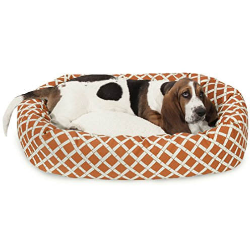 Majestic Pet 81,3 cm Arancione Bruciato bambù Sherpa Bagel Dog Bed
