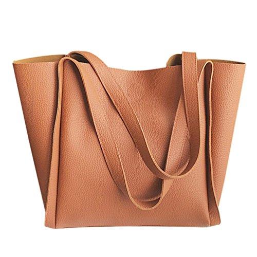 VENMO Frauen zwei Stück Schultertasche Griff Taschen Mode Kuriertaschen Handtaschenbeutel (Brown) Kleine Rosa Behandeln Taschen