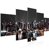Bilder New York City Wandbild 200 x 100 cm Vlies - Leinwand Bild XXL Format Wandbilder Wohnzimmer Wohnung Deko Kunstdrucke Schwarz 5 Teilig - MADE IN GERMANY - Fertig zum Aufhängen 601951a