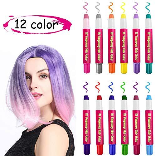 Kalolary Set di gesso temporaneo dei capelli di 12 capelli colorati lavabili non tossici lavabili Penne di gesso dei capelli per bambini Ragazze e