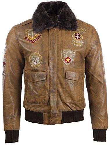 Herren Ultra Stilvoll Hochwertig Echtes Leder Klassischer Flieger Bomber Jacke Mit Speziellen Abzeichen Von MDK (Bomber Leder)