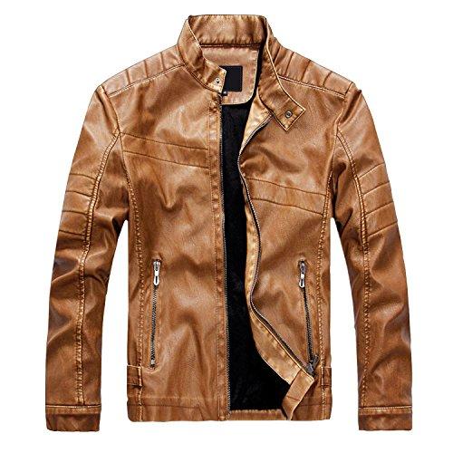 Finrosy Lederjacke Herren Biker Motorrad Kunstleder Jacke Stehkragen Tailliert Slim Fit Zipper Gesteppt (2XL, Braun)