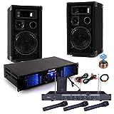 etc-shop 2400 Watt PA Karaoke Musik Anlage Verstärker Boxen Funkmikrofon DJ-Party 8