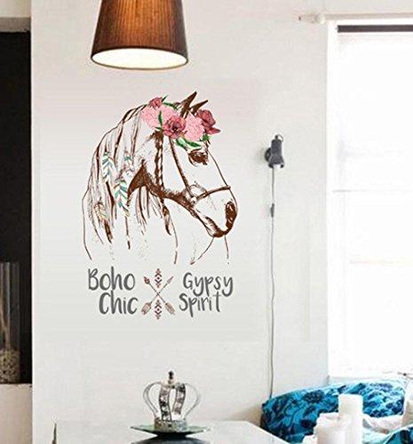 BIBITIME Feder Kranz Pferd Wand Aufkleber Indischen Stil Pfeil Art Aufkleber Sprüche Schriftzug Boho Gypsy Chic Spirit Quotes Wandbild, DIY 56x 90cm (Feder Kranz Schwarze)