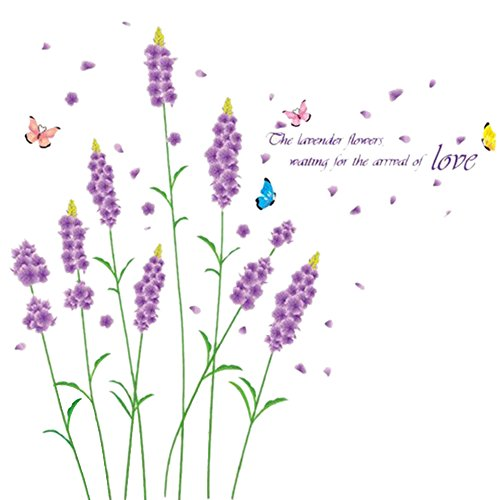 REFURBISHHOUSE Lila Lavendel Blumen Wand Aufkleber entfernbarer Aufkleber Romantische Home Art Decor Mural Dekoration 50 * 70cm (Lila Blumen-wand-aufkleber)