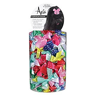 Aria Dot Ribbon Bows for Dogs, 100-Piece Canisters