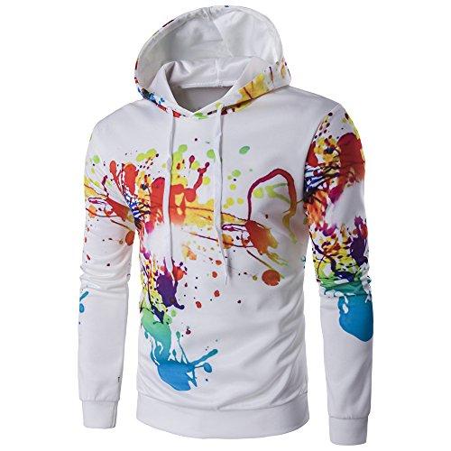 Kunst Hoodie (BaronHong Long Sleeve Mens Classic Pullover Bunte Kunst Graffiti Hoodie Sweatshirts Jacke (weiß, L))