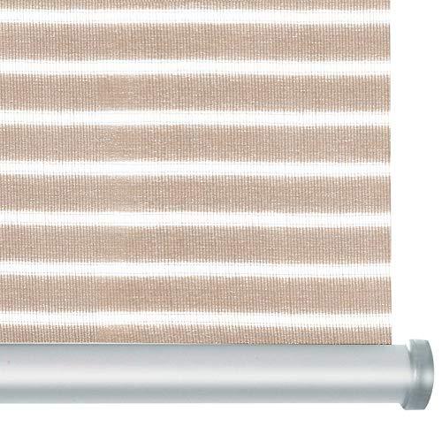 casa pura® Rollo Deluxe Stripe Beige | Blickdicht & lichtdurchlässig | Klemmrollo für Fenster, auch ohne Bohren anbringbar | mit Metallschiene und -Kette | 9 Größen (90x150cm)