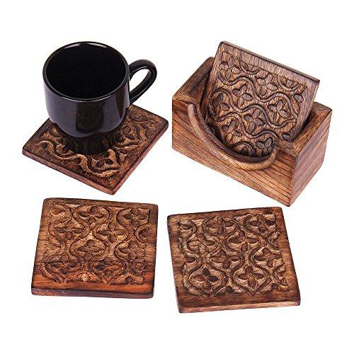 Weihnachten Geschenk Rustikal Holz Set of 4quadratische Drink Untersetzer für Tee Kaffee Bier Becher Wein Glas mit Halter, handgeschnitzt mit floralem Motiv-Küche Esszimmer Zubehör (Holz-wein Und Glas-halter)