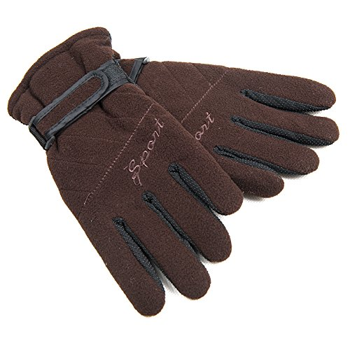 AireLibre Winter Warm Gloves Soft Polar Fleece Back with Insulated Cotton non-slip Waterproof Windproof Snow Gloves for Winter Outdoor Sports Skiing Sledding Snowboarding (Brown)