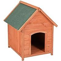 ribelli Niche pour chien pour l'extérieur en bois sapin Marron avec toit pointu–Chien Résistant aux intempéries env. 65x 82,5x 74cm Vert Niche pour chien avec toit amovible