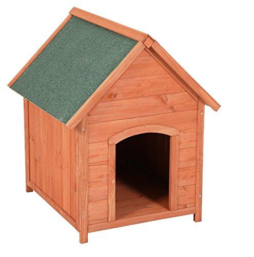 Ribelli® Hundehütte für draußen aus Tannenholz braun mit grünem Spitzdach - Hundehaus wetterfest ca. 65 x 82,5 x 74 cm Hundehöhle mit abnehmbarem Dach (Hütte Die Kleine)