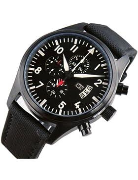 PARNIS schwarz Ziffernblatt PVD Fall Datum Chronograph führen Sekunden Nylon Gurt Schwarz Herren Quarz Armbanduhr