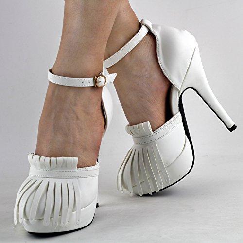 Show Story Sexy Wei? / Schwarz-Franse-Troddel-Plattform-Stilett-Pumpen-Schuhe, LF30466 Weiß