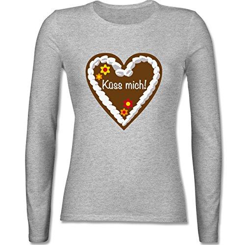 Oktoberfest Damen - Lebkuchenherz Küss mich - tailliertes Longsleeve / langärmeliges T-Shirt für Damen Grau Meliert