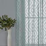 Deconovo Moderne, weiße Volie-Vorhänge mit Stickerei, Rautenmuster, Gardinenstange, durchsichtig, 2 Paneele 38x63 Inch blaugrün