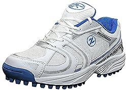 Zigaro Mens White & Blue Synthetic Cricket Shoes- 10 UK