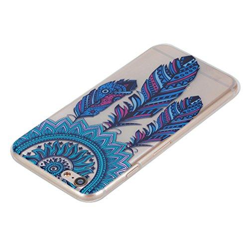 Felfy Case Coque Pour iPhone 6S,iPhone 6 Coque,iPhone 6S Case Case Ultra Mince Slim Coque Gel Souple Soft Flexible TPU Silicone Fashion Etui Painted Motif Design Bumper Anti Waterproof Scratch Cas Hou Bleu Dreamcatcher Bumper