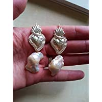 orecchini ex voto cuore sacro milagros messicano e perle di fiume scaramazze sicilia barocchi