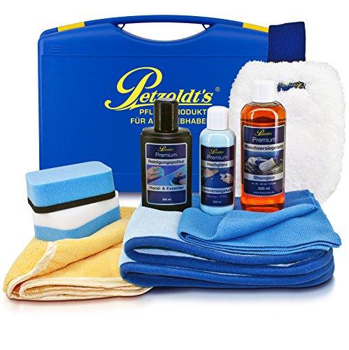 Petzoldts Premium Hochglanz Kofferset mit Lackversiegelung, Shampoo, Politur, Microfaser-Waschhandschuh, Microfasertücher & Polierschwämme