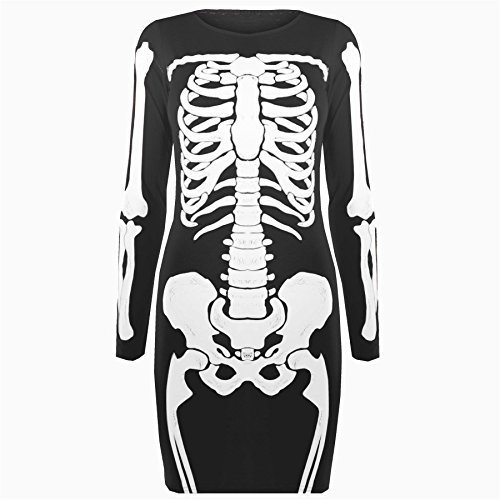 Be Jealous - Damen Tunika Kleid T-Shirt Top Halloween Skelett Knochen - Schwarz, Übergröße 44/46 (Knochen Top)