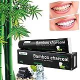 Aktivkohle Zahnpasta - Bamboo Schwarze Zahnpasta - Natürlich Zahnaufhellung & Zahnreinigung - Weisse Zähne - Whitening Toothpaste - Ohne Fluorid - Mint Flavour - für Empfindliche Zähne(Schwarz)